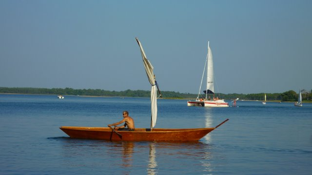 Fishing Wooden Boat Sailing On The Lacanau Lake France