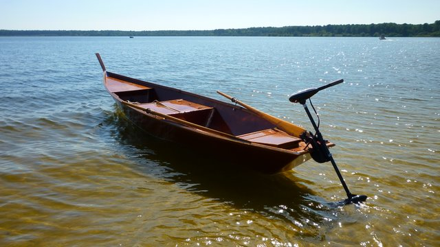 Boat trip on the Lacanau lake to try the electric motor of the boat : DIY Small wooden boat free ...